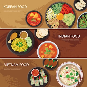 Banner web de comida callejera de asia