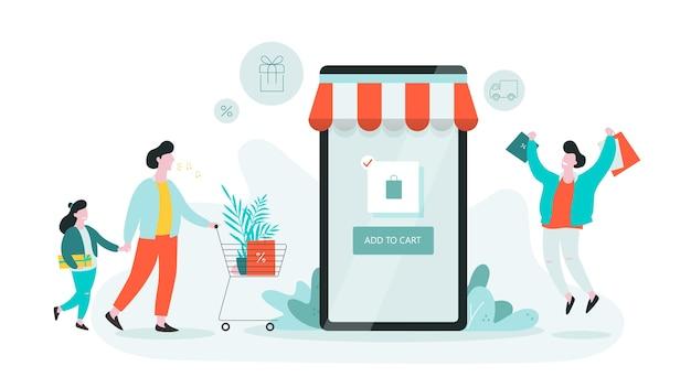 Banner de web de compras en línea. concepto de servicio al cliente