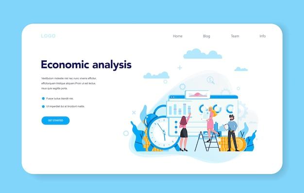 Banner de web de concepto de análisis económico o conjunto de página de destino