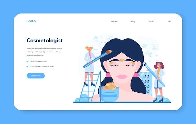 Banner de web de concepto de cosmetóloga o página de destino, cuidado de la piel