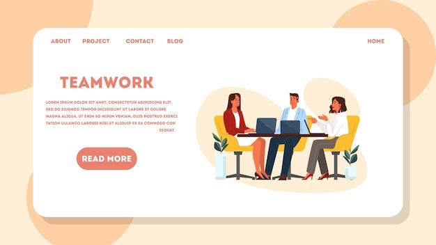 Banner de web de concepto de coworking. idea de gente de negocios trabajando juntos, trabajo en equipo. espacio de trabajo para ocupación creativa. ilustración