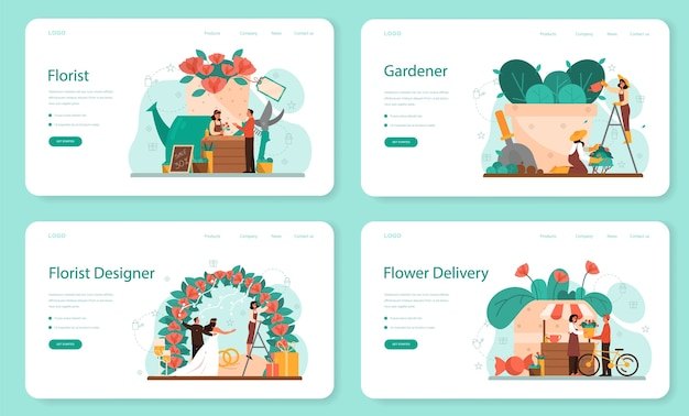 Banner de web de concepto de floristería o conjunto de página de destino. ocupación creativa en boutique floral. floristería de eventos er. entrega de flores y jardinería. negocio florístico.