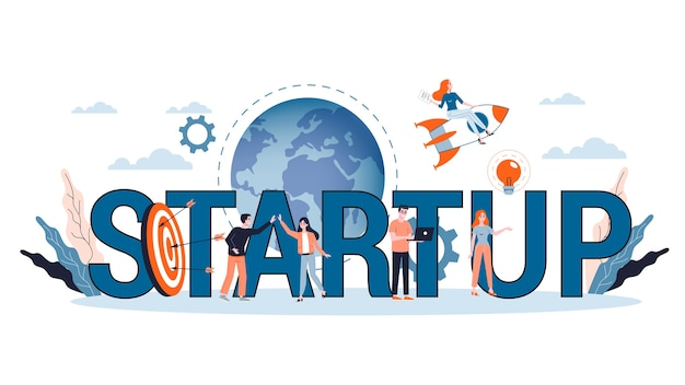 Banner de web de concepto de inicio y trabajo en equipo. beneficio empresarial y crecimiento financiero. estrategia exitosa. ilustración