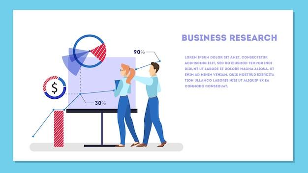 Banner de web de concepto de investigación empresarial. equipo de pie