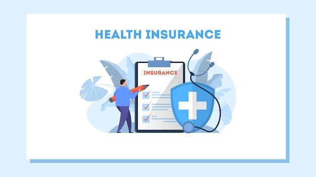 Banner de web de concepto de seguro de salud. hombre con lápiz de pie en el gran portapapeles con documento. servicio sanitario y médico. ilustración