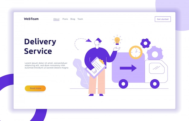 Banner de web de concepto de servicio de entrega de vectores