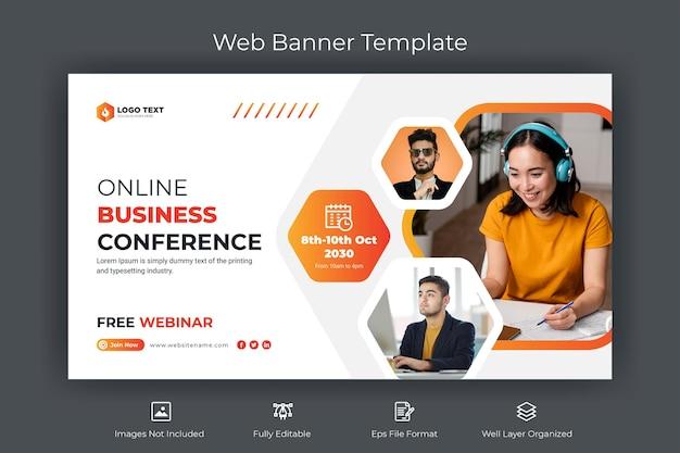 Banner web de conferencia de negocios en línea y plantilla de miniatura de youtube