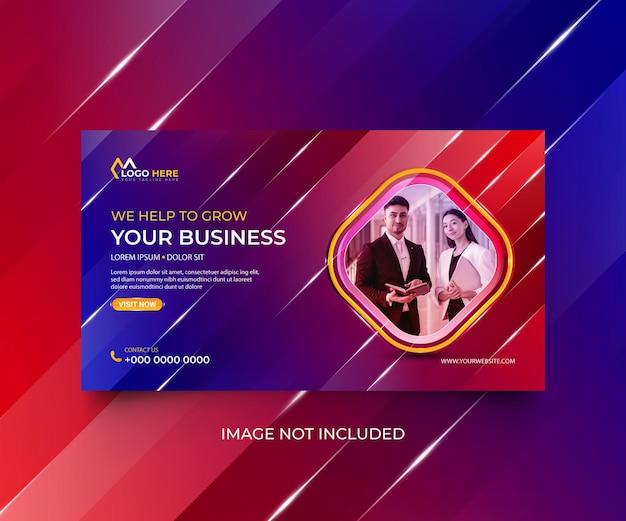 Banner web corporativo colorido en redes sociales y promoción empresarial.
