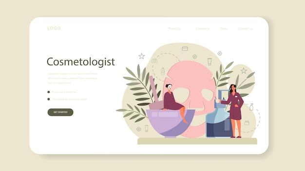 Banner web de cosmetóloga o página de destino