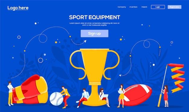 Banner de web de deportes de estilo de vida, encabezado de interfaz de usuario, ingresar al sitio. carácter de personas con elementos alrededor de la copa ganadora.