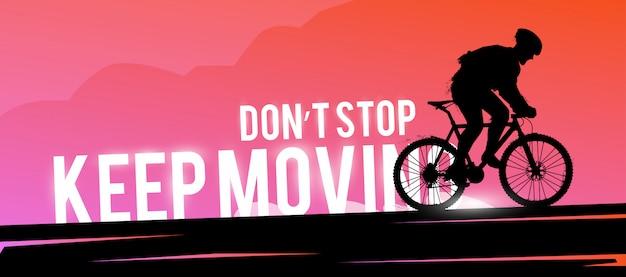 Banner web deportivo. concepto motivacional. biker silueta hombre.