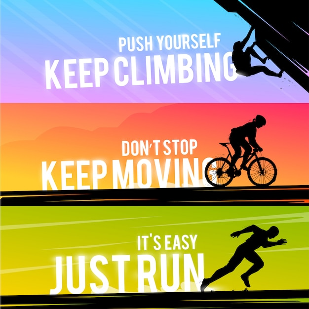 Banner web deportivo. concepto motivacional. la silueta del motorista. silueta del corredor. hombre que corre. la silueta del escalador. deportes extremos al aire libre.