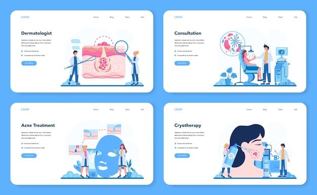 Banner web de dermatólogo o conjunto de página de destino