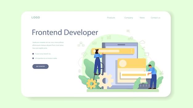 Banner web de desarrollador frontend o página de destino. mejora del diseño de la interfaz del sitio web.