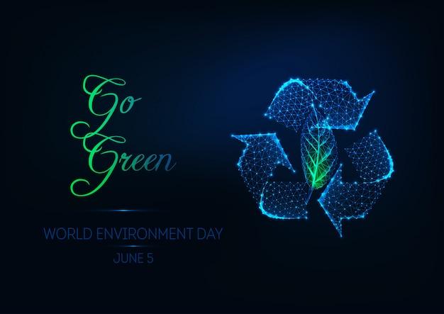 Banner de web de día del medio ambiente mundial futurista con signo de reciclaje poligonal baja brillante y hoja verde.