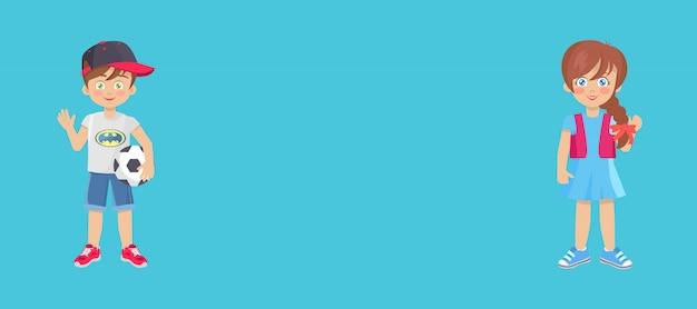 Banner web del día del niño con niño y niña juguetones