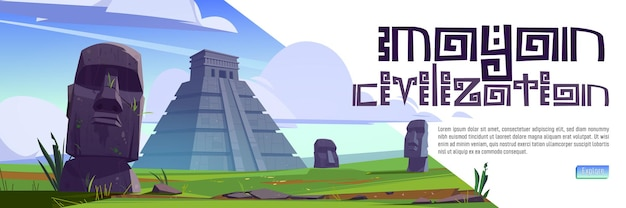 Banner de web de dibujos animados de la civilización maya