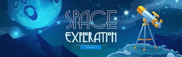 Banner de web de dibujos animados de exploración espacial