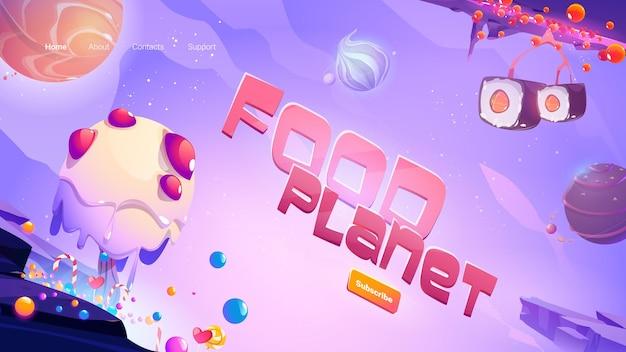 Banner de web de dibujos animados de planeta de comida rápida
