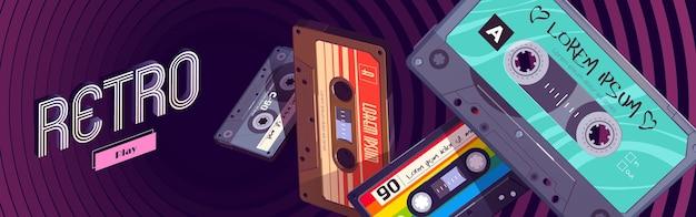 Banner de web de dibujos animados retro mixtapes