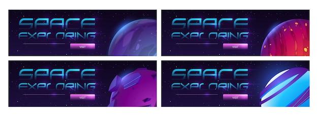 Banner de web de dibujos animados de viajes de galaxia con planetas en el espacio ultraterrestre.