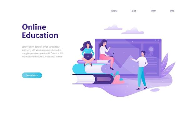 Banner de web de educación en línea. idea de distancia
