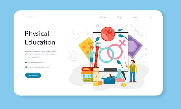 Banner de web de educación sexual o página de destino. lección de salud sexual para jóvenes. sistema de anticoncepción y reproducción. desarrollo de la pubertad. ilustración de vector aislado