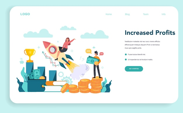 Banner web de emprendedor o ilustración de página de destino en estilo plano