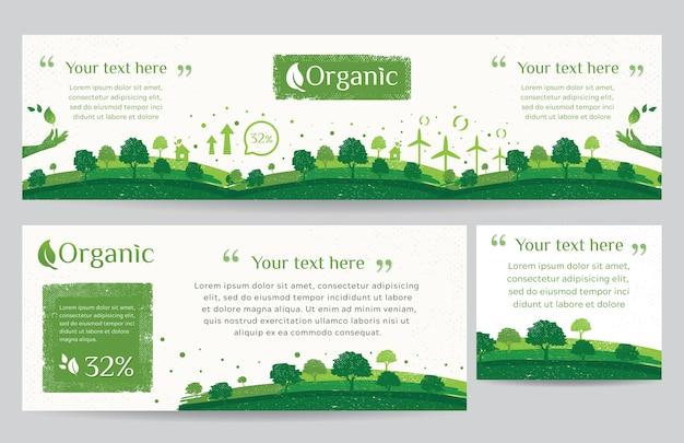 Banner web de entorno verde limpio con estilo grunge