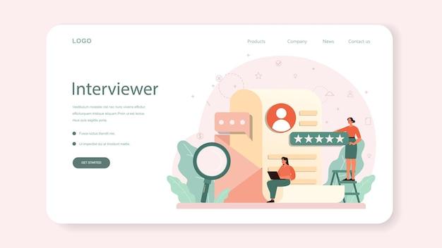 Banner de web de entrevista de trabajo o página de destino. idea de empleo y contratación. búsqueda de jefe de contratación.