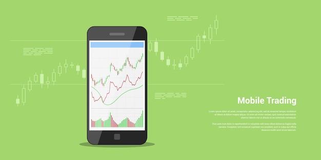 Banner web de estilo en concepto de comercio de acciones móvil, comercio en línea, análisis del mercado de valores, negocios e inversiones, intercambio de divisas