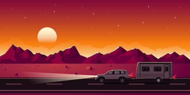 Banner web de estilo en viaje por carretera, remolque, camping, recreación al aire libre, aventuras en la naturaleza, concepto de vacaciones. imagen de suv y remolque.