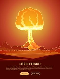Banner de web de explosión nuclear brillante