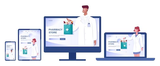 Banner web de farmacia en línea en la pantalla del dispositivo web