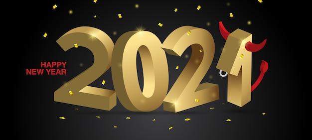 Banner web feliz año nuevo. números de oro 2021 sobre un fondo negro con confeti. el número 1 está estilizado como un toro, el símbolo del año.