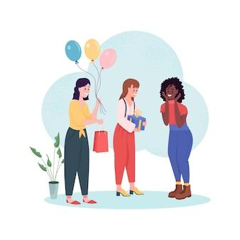 Banner de web de fiesta de cumpleaños sorpresa, cartel. dar regalos, recibir presente.