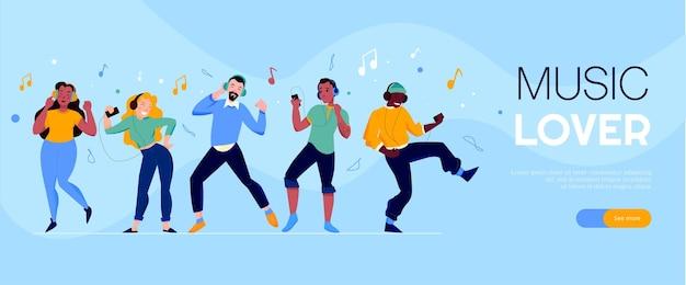 Banner de web horizontal de amante de la música