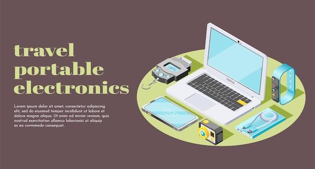Banner de web horizontal de electrónica portátil de viaje con escala de peso, pulsera de fitness, teléfono inteligente, banco de energía, cámara de acción, iconos isométricos