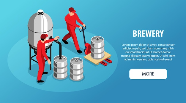 Banner de web horizontal isométrica de cervecería