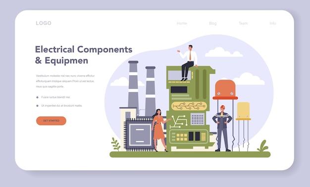 Banner web de la industria de componentes y equipos eléctricos o ilustración de la página de destino