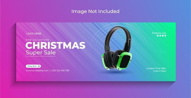 Banner de web de instagram de redes sociales de venta de gadgets de navidad o plantilla de portada de facebook vector premium