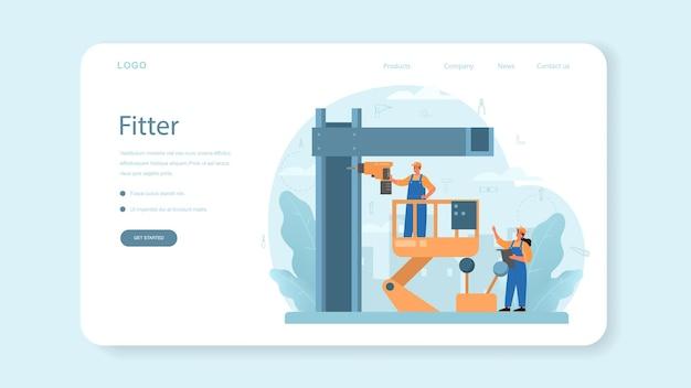 Banner web del instalador o página de destino. trabajador en uniforme instalando construcciones. servicio profesional, equipo reparador.