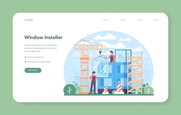 Banner web del instalador o página de destino. trabajador en uniforme instalando ventanas