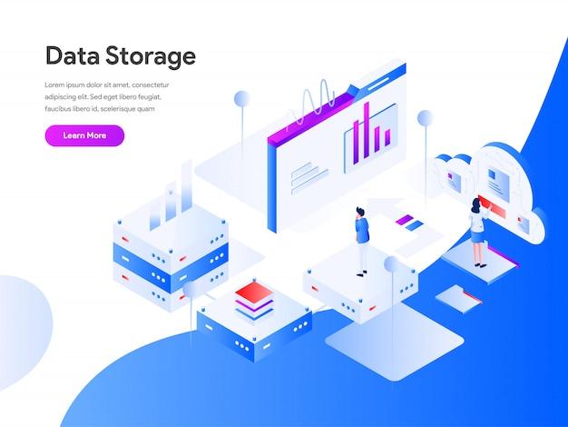 Banner de web isométrica de almacenamiento de datos