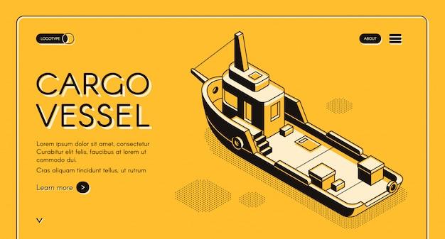 Banner de web isométrica de buque de carga comercial con arte de línea de barco de carga o remolcador