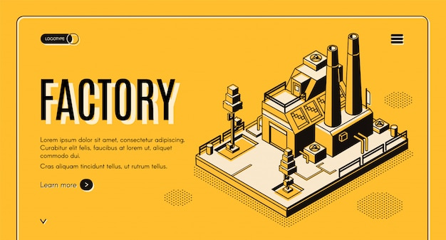 Banner de web isométrica empresa de industria pesada