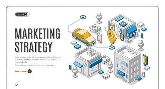 Banner de web isométrica de estrategia de marketing, planificación