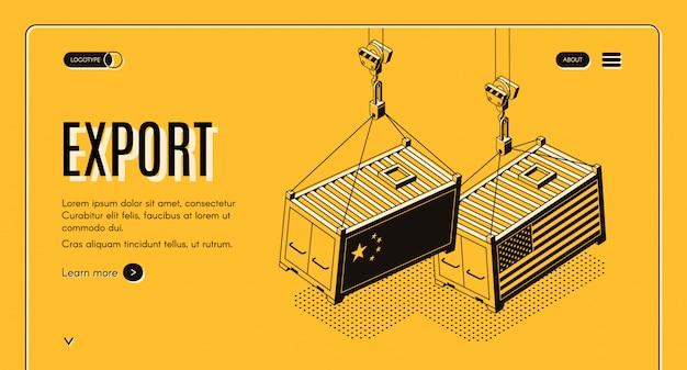 Banner de web isométrica de exportación internacional de bienes.
