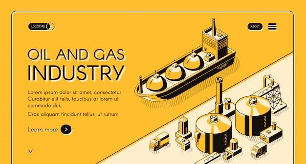 Banner de web isométrica industria de petróleo y gas. petrolero, transportador de gnl cerca de planta de refinería de petróleo