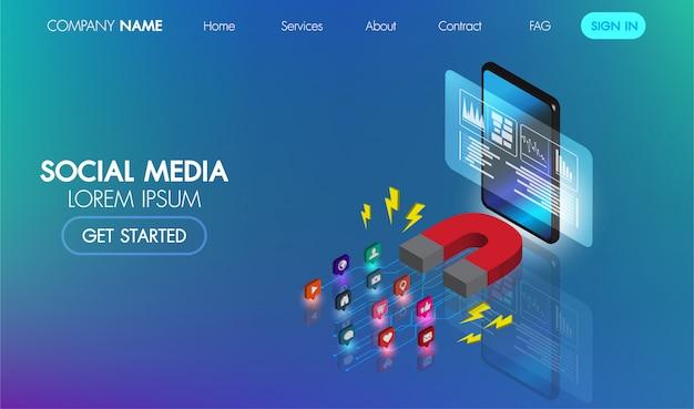 Banner de web isométrica de marketing en redes sociales. información de publicidad de marketing de imán.